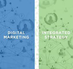 Digital Marketing and Integrated Strategy words typed out with a green and blue background