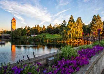 building with flowers surrounding it in Spokane Washington