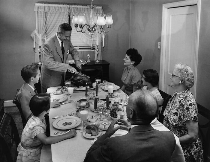 vintage family eating dinner